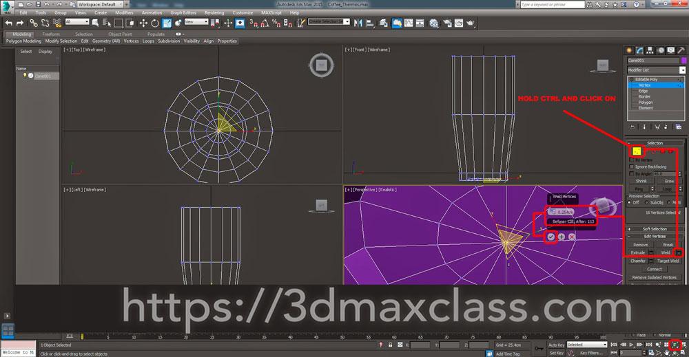 3dmax 1 1 13 - آموزش مدل سازی ماگ قهوه در تری دی مکس
