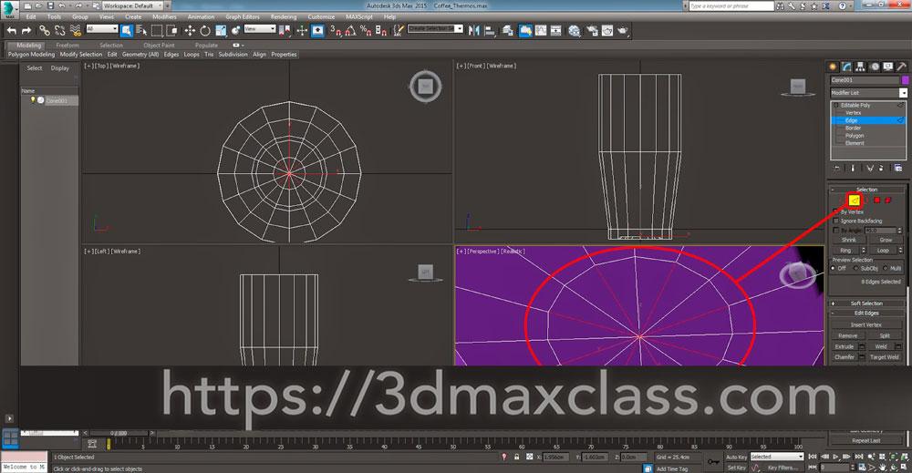 3dmax 1 1 14 - آموزش مدل سازی ماگ قهوه در تری دی مکس