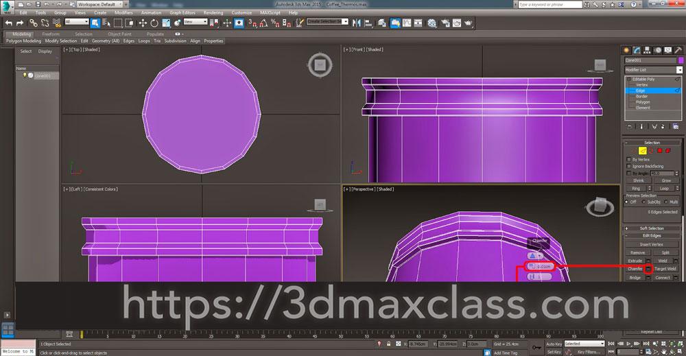 3dmax 1 1 25 - آموزش مدل سازی ماگ قهوه در تری دی مکس