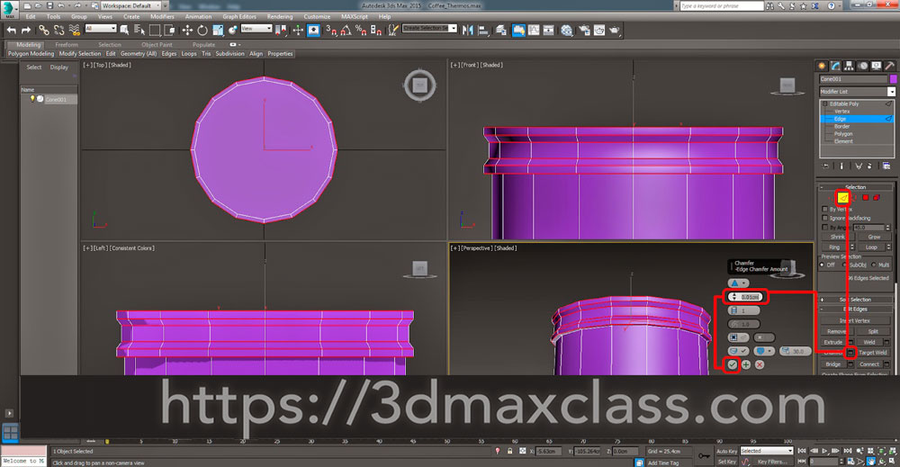 3dmax 1 1 23 - آموزش مدل سازی ماگ قهوه در تری دی مکس