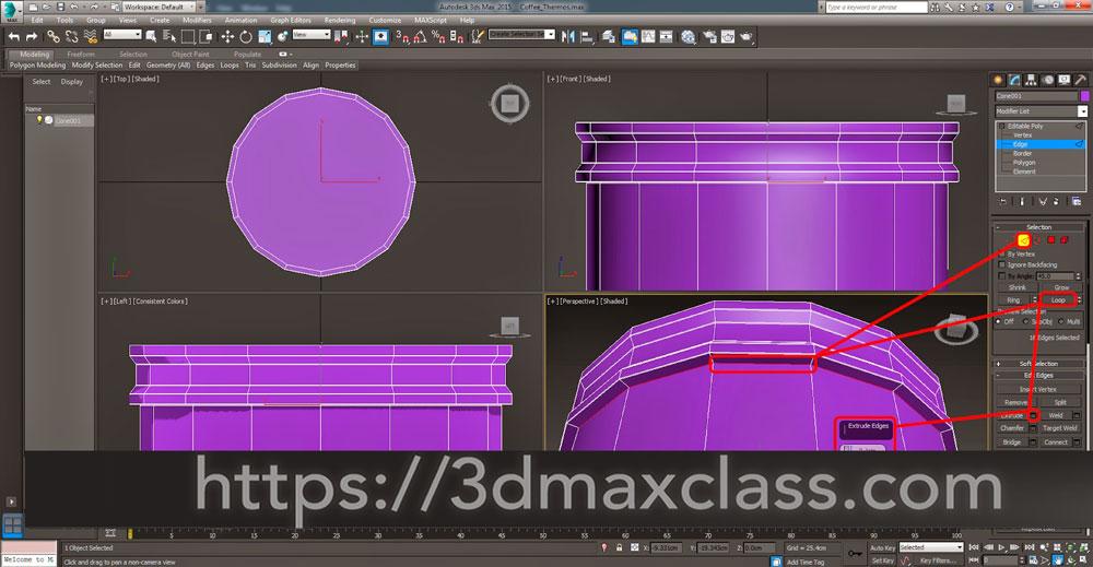 3dmax 1 1 24 - آموزش مدل سازی ماگ قهوه در تری دی مکس