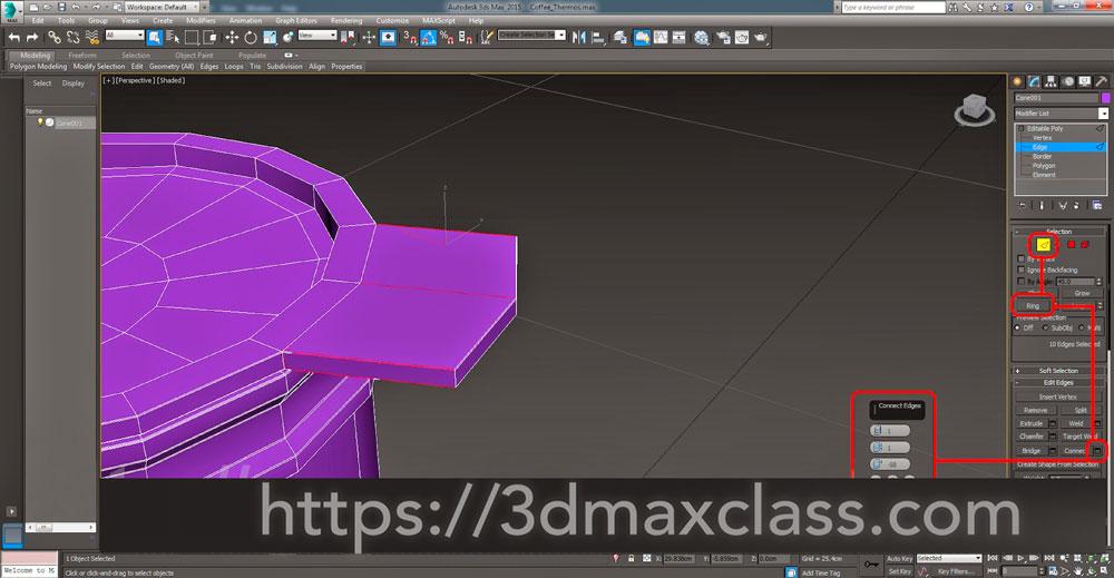3dmax Step43 - آموزش مدل سازی ماگ قهوه در تری دی مکس