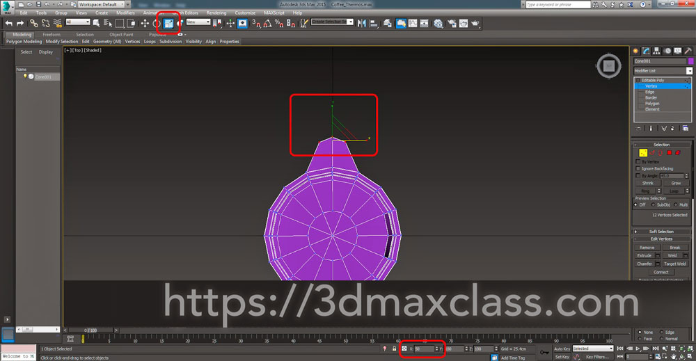 3dmax Step47 - آموزش مدل سازی ماگ قهوه در تری دی مکس