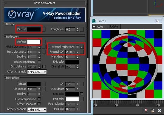 Crumpled Tin Foil In Vray step 2 - آموزش ساخت انواع متریال نقره ؛ برنز و فویل قلعی در vray