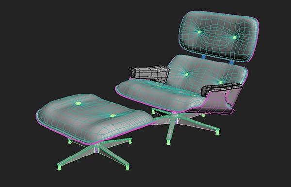 fonal - آموزش مدلسازی با تری دی مکس ، مدلسازی صندلی ایمز لانژ